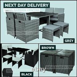 Rattan 8 Seater Garden Dining Furniture Cube Sofa Set Table Outdoor Patio Wicker