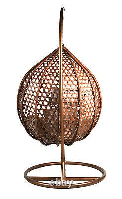 Rattan Brown Hanging Egg Chair Patio Garden Indoor Outdoor with Cushion Large