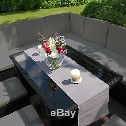 Rattan Corner Garden Furniture Outdoor Sofa Table Set Dining Patio Free Cover