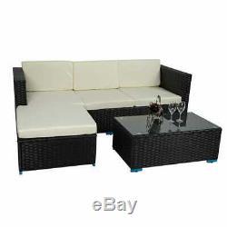Rattan Furniture Corner Sofa Set With Cushion Outdoor Patio Garden Lounger