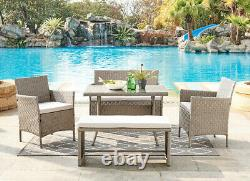 Rattan Garden Furniture Dining Set Conservatory Patio Outdoor Table Chairs Bench