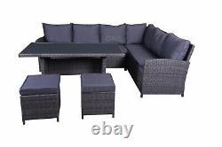 Rattan Garden Furniture Dining Set Outdoor Patio Table Corner Sofa Stool Set