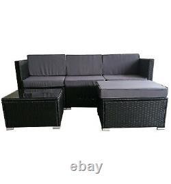 Rattan Garden Furniture Outdoor 5pcs Patio Sofa Set chairs Table (Rupert Black)