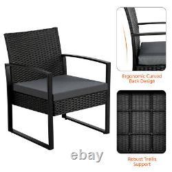 Rattan Garden Furniture Set 3 Pcs Wicker Wicker Chairs Patio Outdoor Furniture