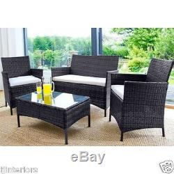 Rattan Garden Furniture Set 4 Piece Chairs Sofa Table Outdoor Patio Set