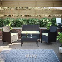 Rattan Garden Furniture Set 4 Piece Chairs Table Sofa Outdoor Patio Set Brown