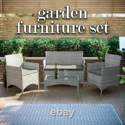 Rattan Garden Furniture Set 4 Piece Seat Chairs Table Bench Patio Outdoor Grey