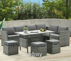 Rattan Garden Furniture Set Corner Lounge Outdoor Sofa Chair Stools Patio Grey