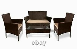 Rattan Garden Furniture Set Outdoor Patio 4 Seater Chairs Sofa and Table Lounge