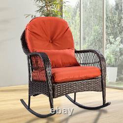 Rattan Garden Furniture Set Wicker Metal Rocking Armchair Outdoor Patio Cushions