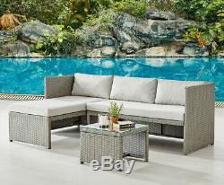 Rattan Garden Furniture Sofa Set Grey or Black Patio Outdoor Corner Lounge Set