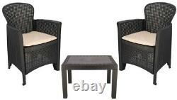Rattan Garden Set Effect Table & Chairs Set Patio Set 3 Piece Bistro Set