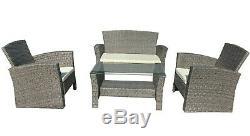 Rattan Grey Garden Furniture Set 4pc Outdoor Table Chair Sofa Conservatory Patio