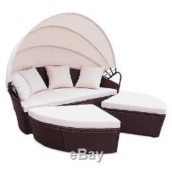 Rattan Outdoor Garden Bali Day Bed Patio Sun Lounge in Black, Brown, Grey, Mixed