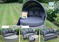 Rattan Outdoor Garden Day Bed Patio Sun Lounger Aluminium, Grey, Thick Cushion