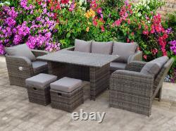 Rattan Recliner Wicker Garden Outdoor Table And Dining Furniture Patio Set Grey