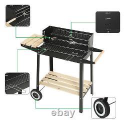 Rectangular BBQ Barbecue Steel Charcoal Grill Outdoor Patio Garden Wheels