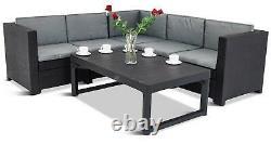 Refurbished Keter Rattan Garden Set Corner Sofa Table Outdoor Patio Conservatory