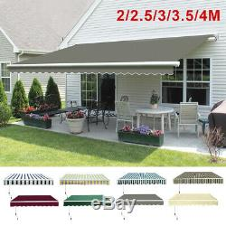 Retractable Awning Manual Outdoor Garden Canopy Patio Sun Shade Shelter 8 Colour