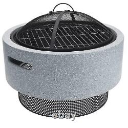 Round Resin Fire Bowl Pit American Style Charcoal BBQ Outdoor Garden Patio