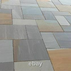 Sandstone Indian Blended Natural Paving Slab Rustic Grey Garden Patio Mixed Size