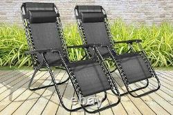 Set Of 2 Reclining Sun Lounger Outdoor Garden Patio Gravity Chair Recliner Bed D