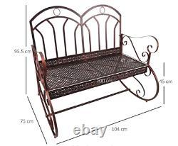 Shabby Chic Garden Bench Vintage Swing Chair Rocking Metal Furniture Patio Seat