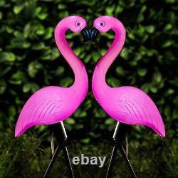 Solar Powered Pink Flamingo Ornament Set of 3 Garden 53cm Outdoor Light Decor