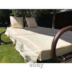 Somerset 3 Seat Swing Hammock Bed Heavy Duty Garden Bench Patio Brown Cream Seat