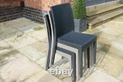 Stackable Rattan Garden Table & Chairs Set Grey Outdoor/indoor Patio Furniture