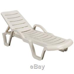 Sun Lounger Outdoor Garden Patio Relaxer White Recliner Bed Terrace Furniture