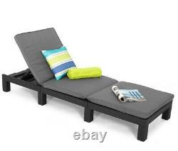 Sun Lounger Recliner Chair Garden Patio Pool Cushions Keter Daytona Polyrattan