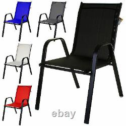 Textoline Bistro Chairs Stack Outdoor Garden Patio Dining Furniture Cream/black