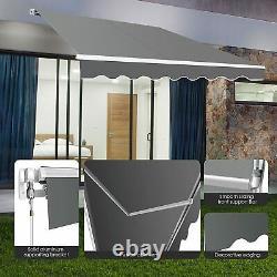 UK Retractable Awning Manual Outdoor Garden Canopy Patio Sun Shade Shelter Grey
