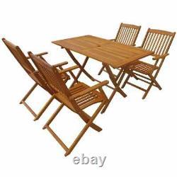 VidaXL Solid Acacia Wood Outdoor Dining Set 5 Piece Garden Folding Table Chair