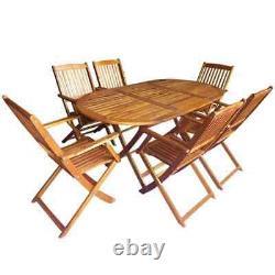 VidaXL Solid Acacia Wood Outdoor Dining Set 7 Piece Garden Folding Table Chair