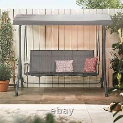 VonHaus 3 Seater Swing Seat With Canopy Outdoor Garden Patio Swinging Chair