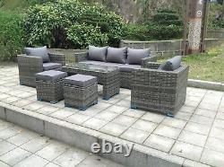 Wicker Rattan Garden Furniture Sofa Sets Outdoor Patio Coffee Table With Stools