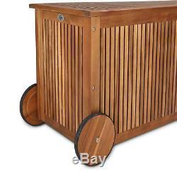 Wooden Cushion Box Wheels 117cm Acacia Wood Outdoor Patio Garden Storage Chest