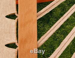 Wooden Double Hammock with Frame Sun Outdoor Garden Freestanding Patio Lounger