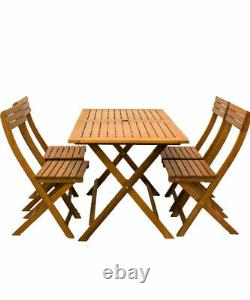 Wooden Garden Furniture Set 4 Seater Dining Outdoor Table Chairs Hardwood Patio