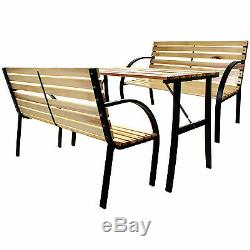 Wooden Slatted Bench & Table Set Garden Outdoor Patio Furniture Steel Metal NEW