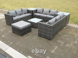 10 Places U Sofa En Forme De Rotin Set Table Salon De Jardin Extérieur Patio Gris