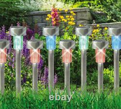 12 X Couleur Changeant L'acier Inoxydable Solaire Led Jardin Patio Post Lumières Extérieures