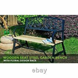 2-3 Seater Garden Banc En Métal Siège En Bois Dossier Patio Chaise Accoudoir Extérieur