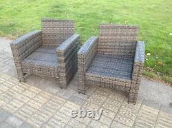 2 Pc Haut Dos Chaise De Bras De Rotin Patio Meubles Extérieurs De Jardin Avec Coussin