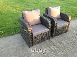 2 Pc Inclinable Chaise De Sofa De Rotin Patio Meubles Extérieurs De Jardin Réglés Avec Le Coussin