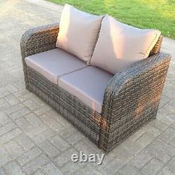 2 Seater Curved Arm Rattan Sofa Patio Meubles De Jardin Extérieurs Avec Coussin