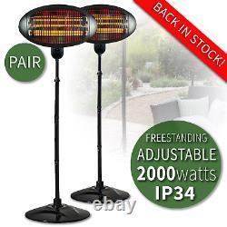 2kw Patio Heater Garden Free Standing Electric Halogen Garden Warmer Ip34 (paire)
