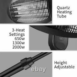2kw Patio Heater Garden Free Standing Electric Halogen Garden Warmer Mains Ip34